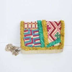 Nanette Lepore Embroidered Boho Straw Purse